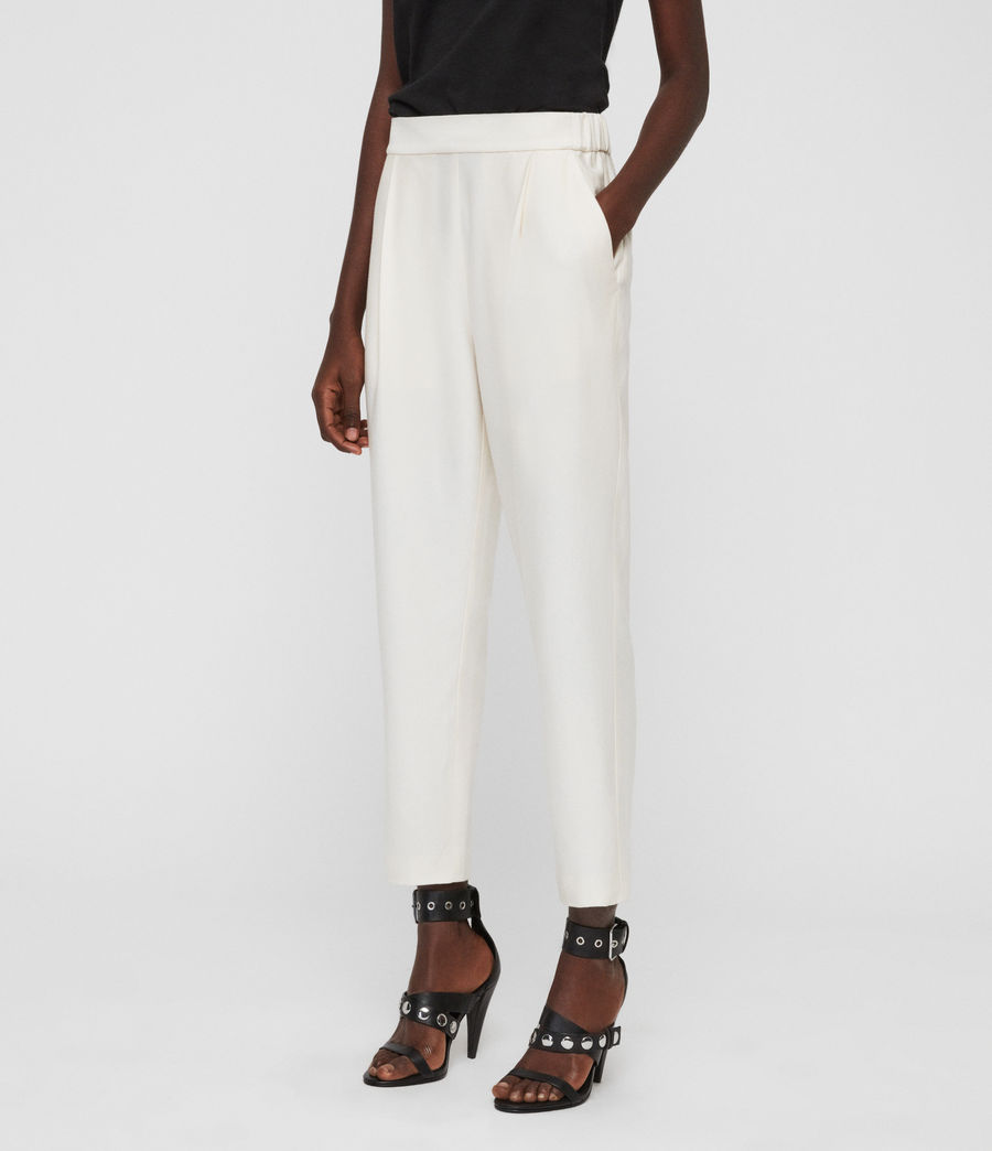Women's Aleida Tapered High-Rise Trousers (ecru_white) - Image 3