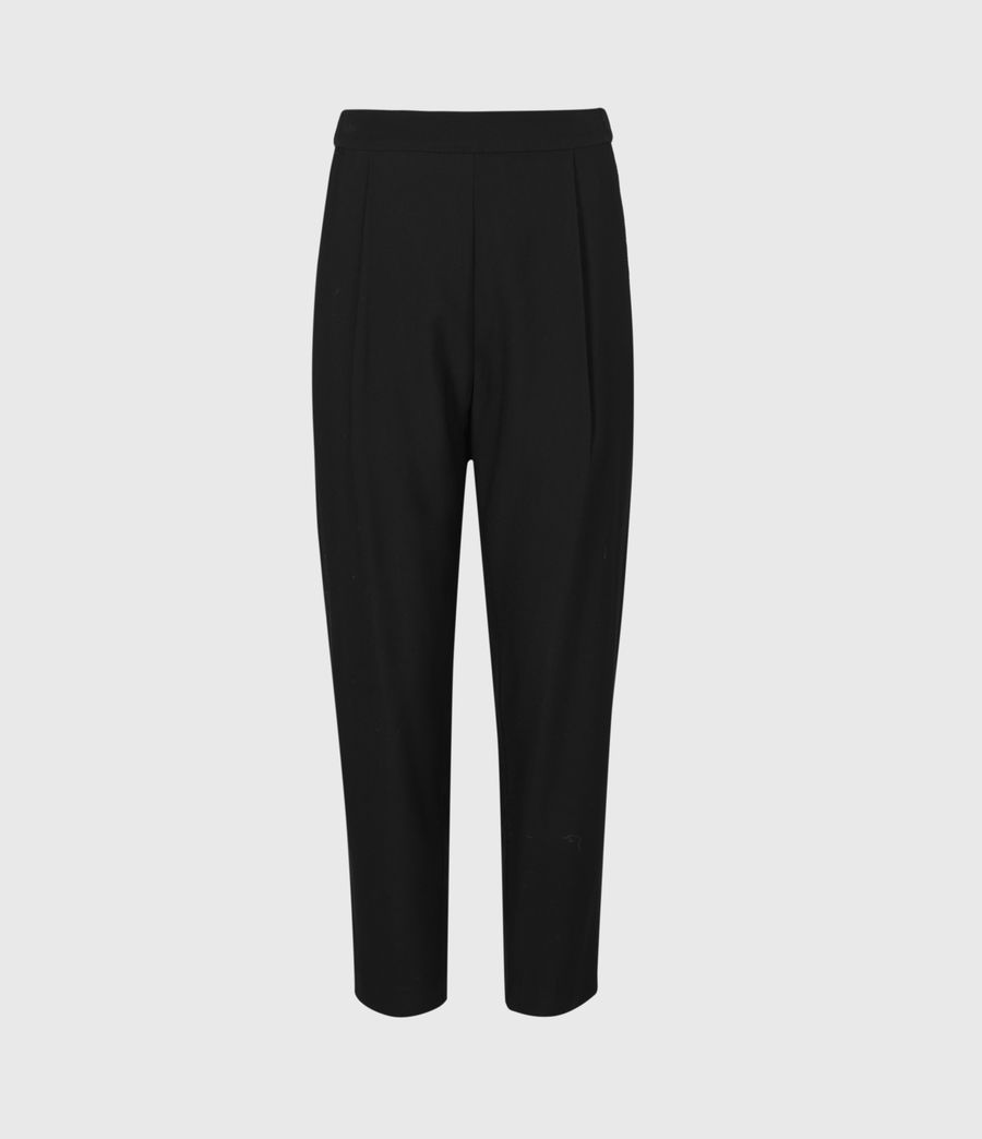 Women's Aleida Tapered Mid-Rise Trousers (black) - Image 2