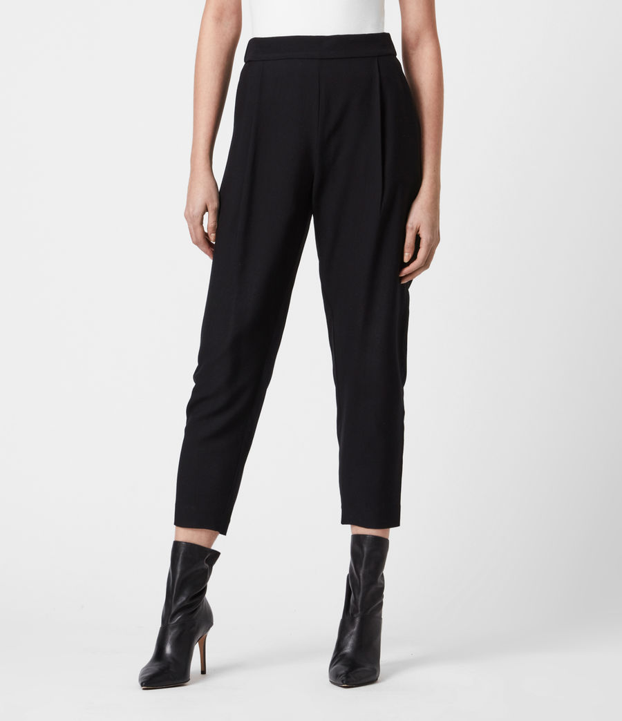 Women's Aleida Tapered Mid-Rise Trousers (black) - Image 4