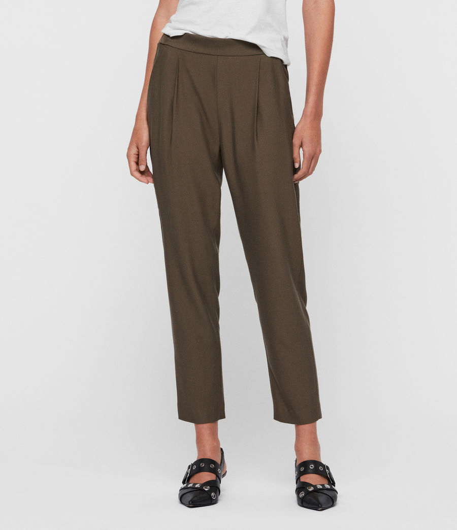 Women's Aleida Tapered Mid-Rise Trousers (khaki_green) - Image 1