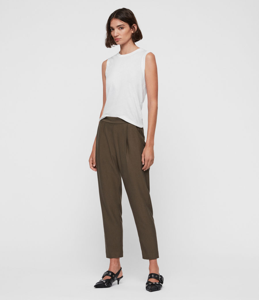 Women's Aleida Tapered Mid-Rise Trousers (khaki_green) - Image 3