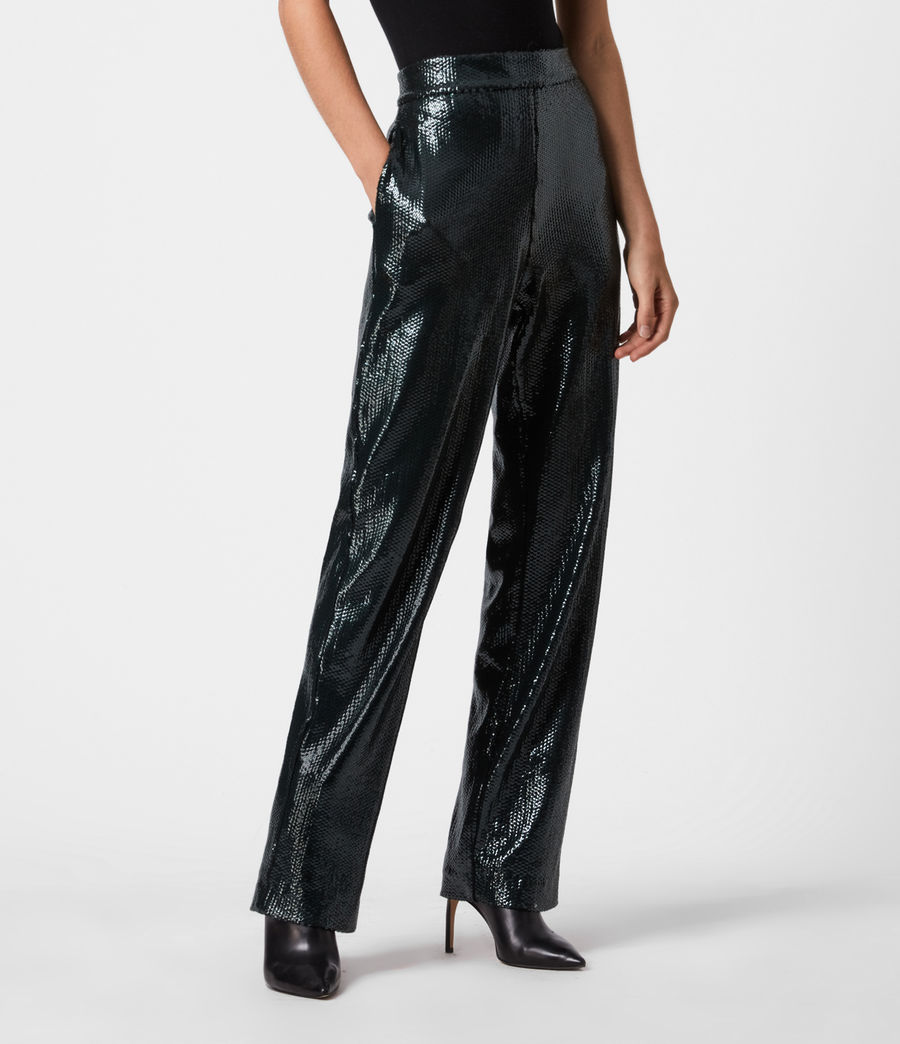 Women's Leanna Mid-Rise Relaxed Trousers (petrol_blue) - Image 4