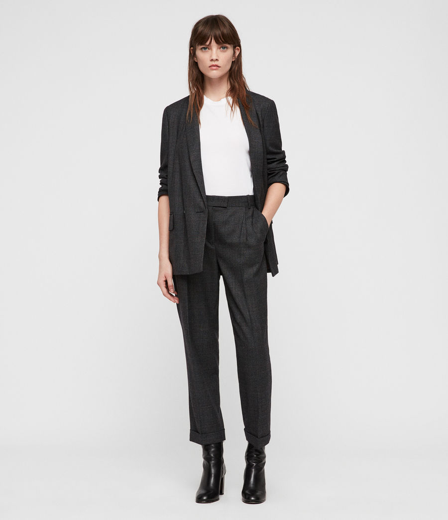 Womens Harriet Check Trousers (charcoal_grey) - Image 1