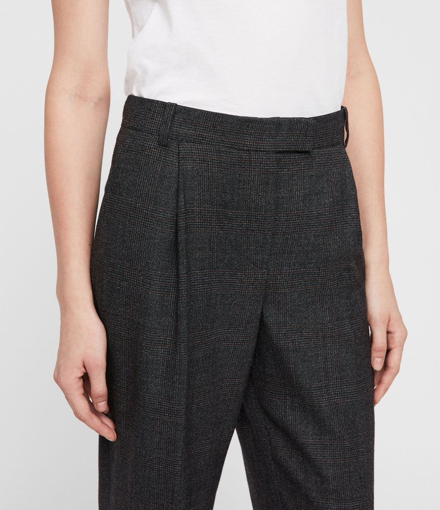 Womens Harriet Check Trousers (charcoal_grey) - Image 2