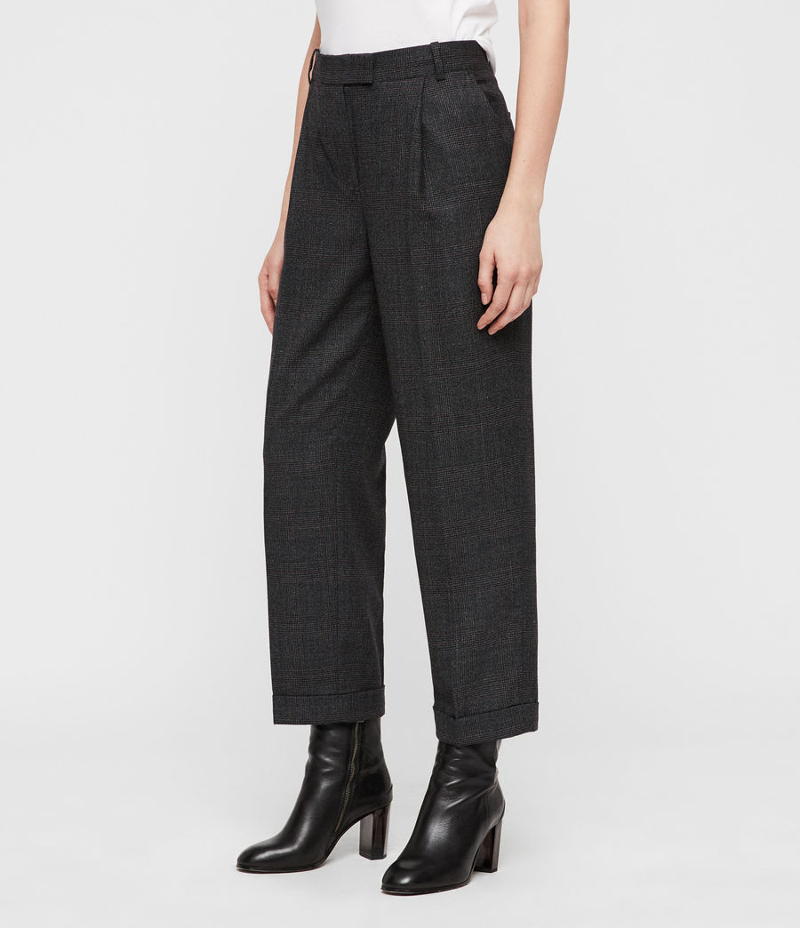 Womens Harriet Check Trousers (charcoal_grey) - Image 3