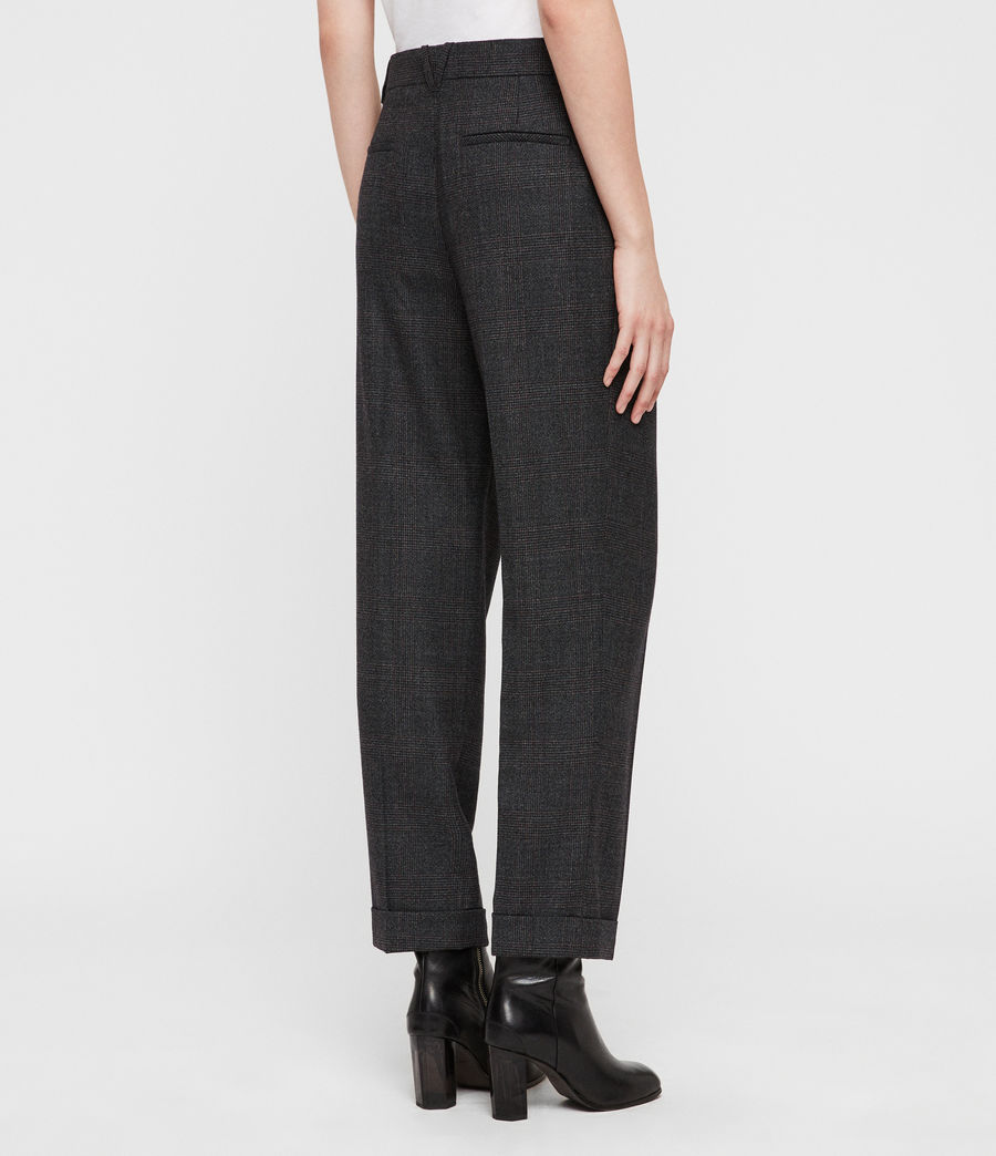 Womens Harriet Check Trousers (charcoal_grey) - Image 4