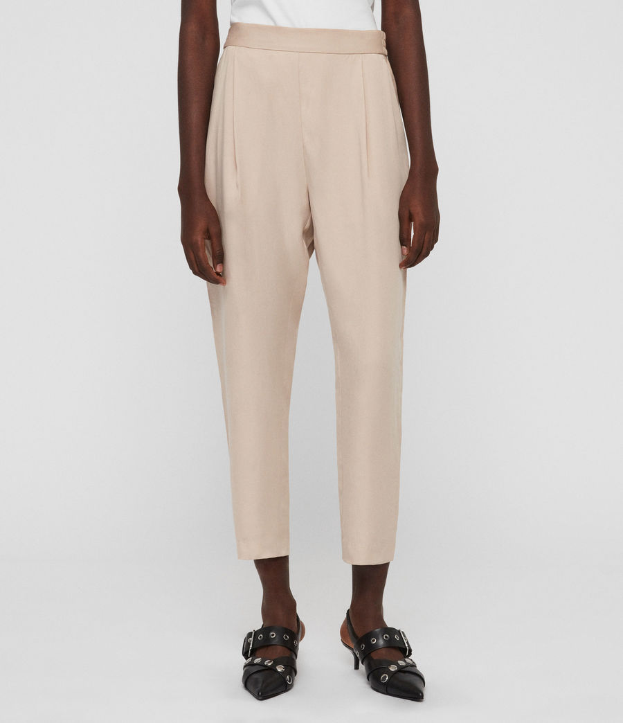 Womens Alva Tapered High-Rise Pants (khaki) - Image 1
