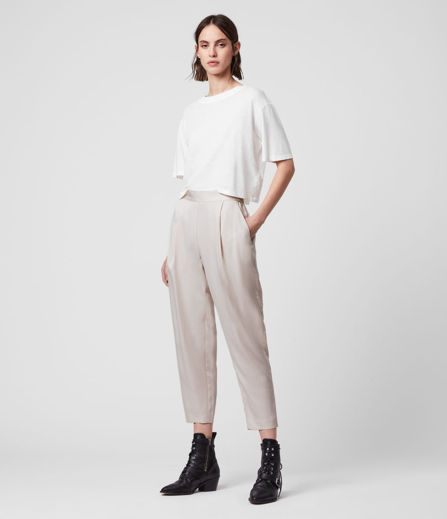 Womens Alva Tapered High-Rise Pants (ivory_white) - Image 1