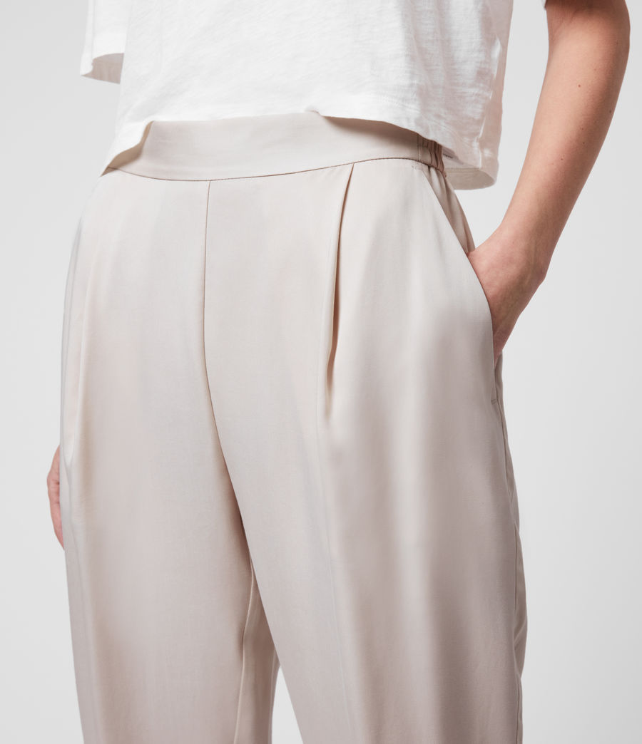Womens Alva Tapered High-Rise Pants (ivory_white) - Image 2