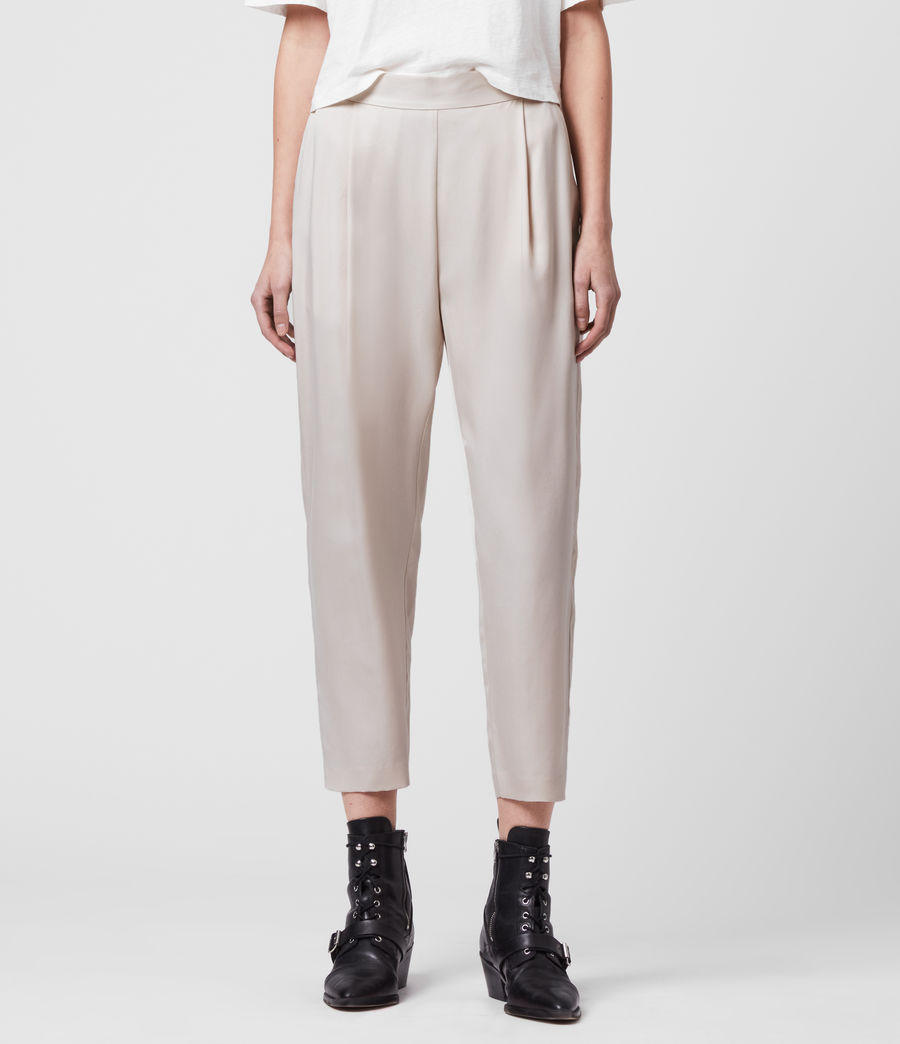 Women's Alva Tapered Low-Rise Trousers (ivory_white) - Image 3