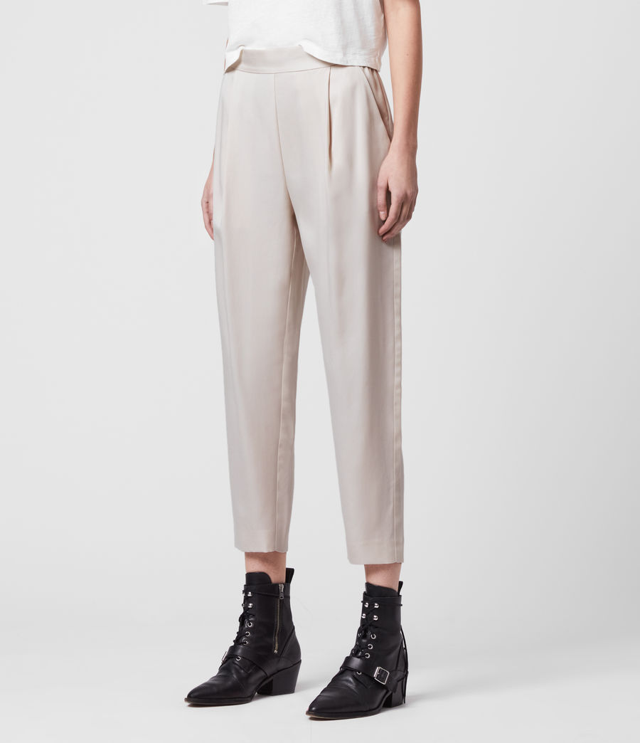 Women's Alva Tapered Low-Rise Trousers (ivory_white) - Image 4