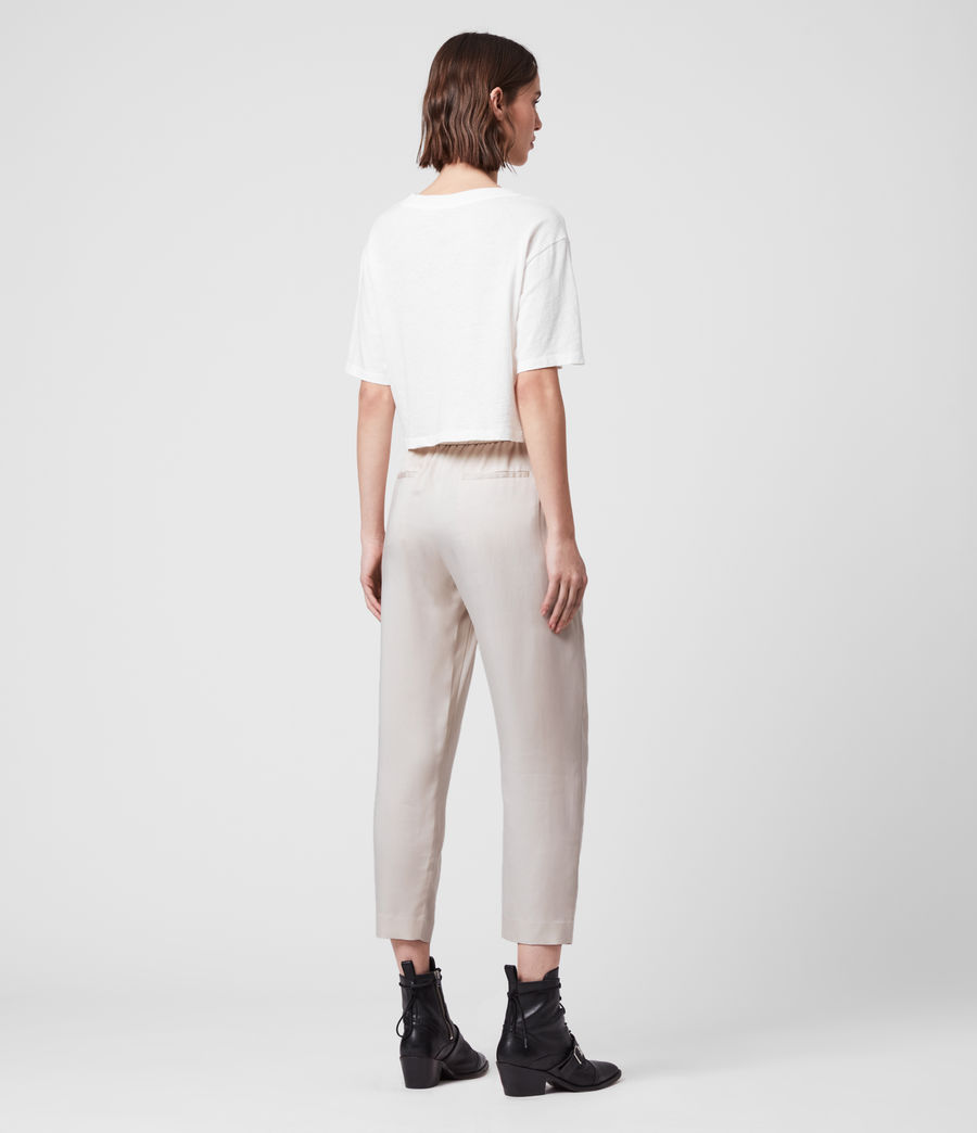 Women's Alva Tapered Low-Rise Trousers (ivory_white) - Image 5