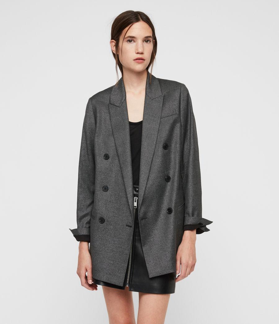 Womens Isla Shimmer Check Blazer (grey) - Image 1