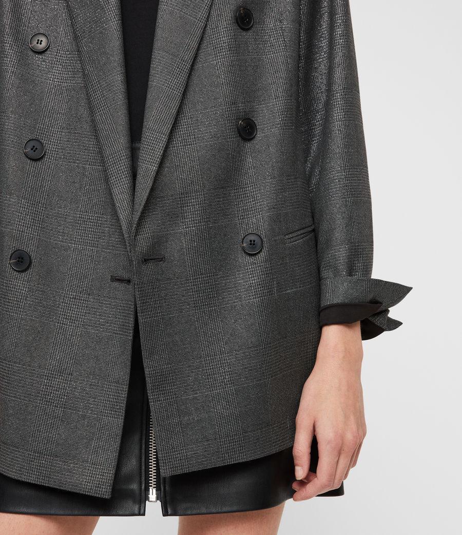 Womens Isla Shimmer Check Blazer (grey) - Image 2
