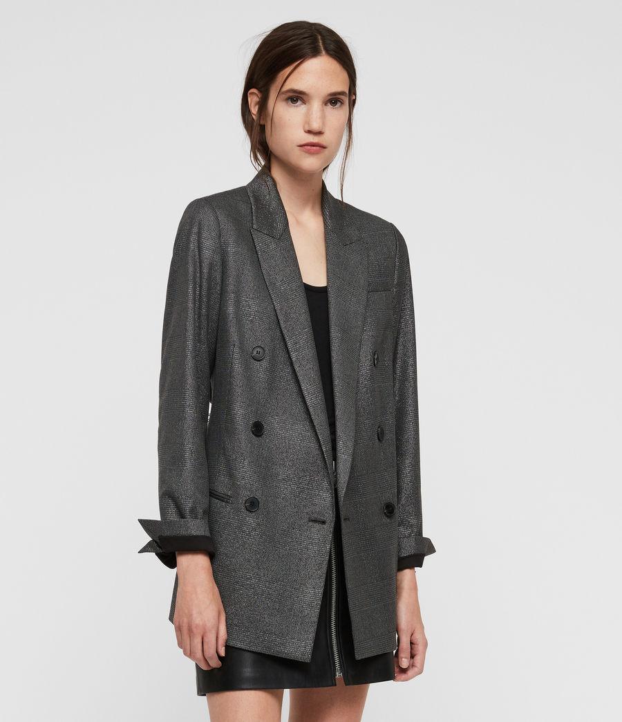 Womens Isla Shimmer Check Blazer (grey) - Image 4