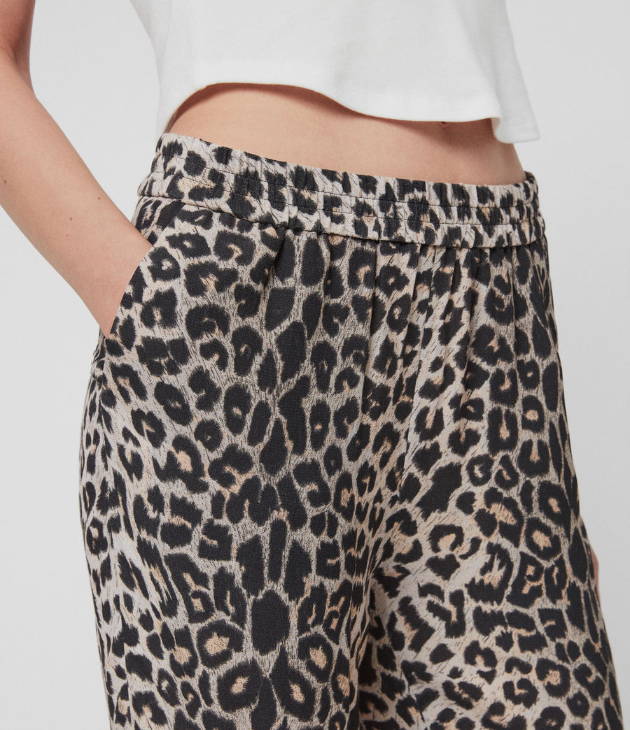 Women's Neve Leppo Tapered Mid-Rise Trousers (leopard_yellow) - Image 3