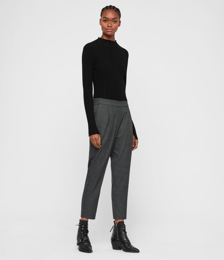 Women's Anneka Check Trousers (grey_black) - Image 3