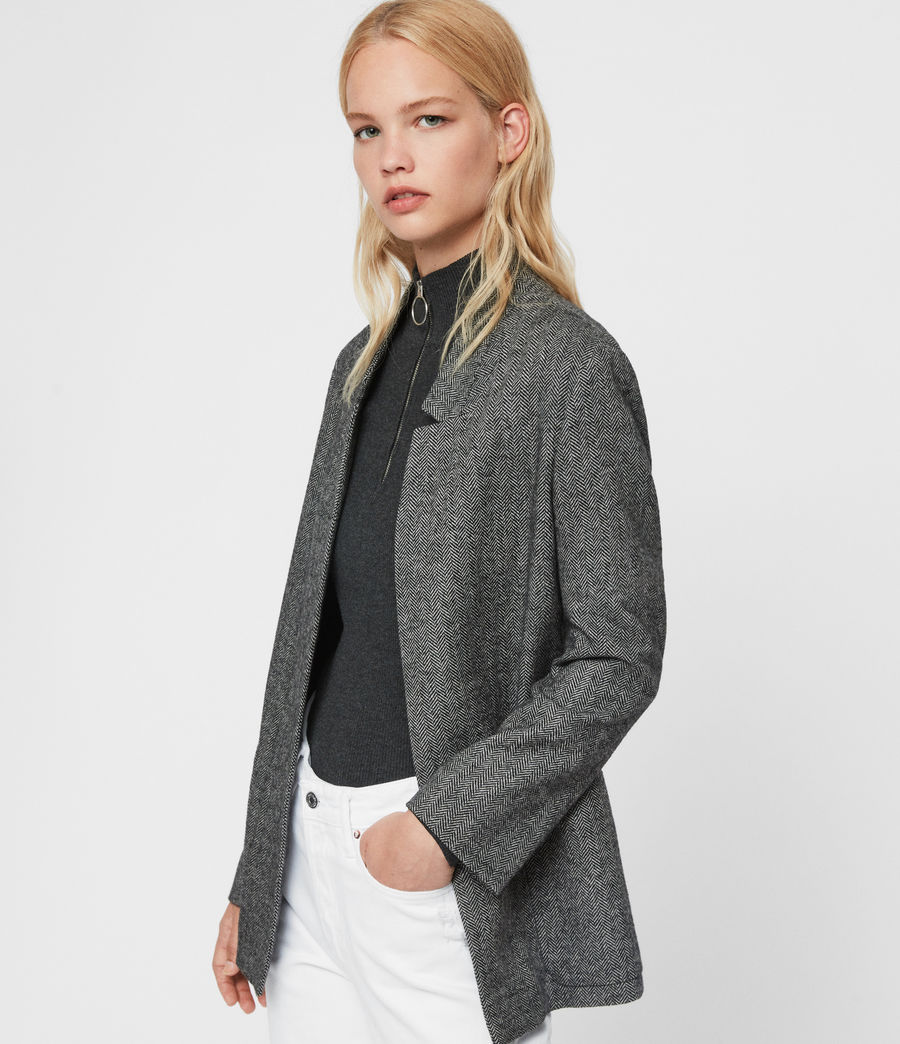 Womens Aida Herringbone Blazer (black_white) - Image 4
