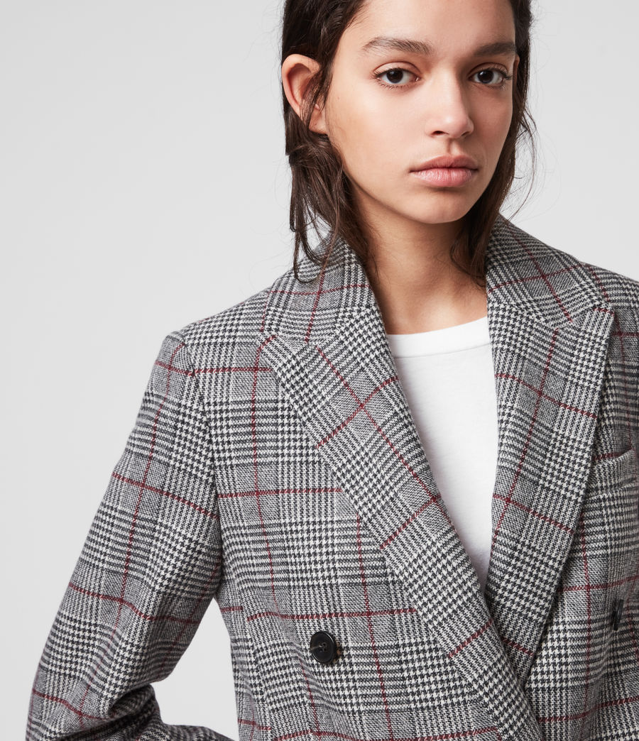Women's Astrid Check Blazer (light_grey_red) - Image 1