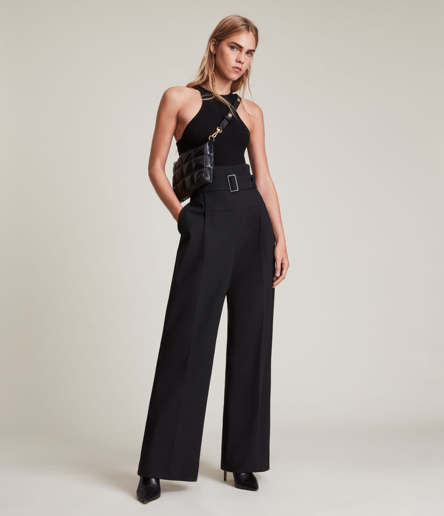 Women's Afia High-Rise Relaxed Trousers (black) - Image 1