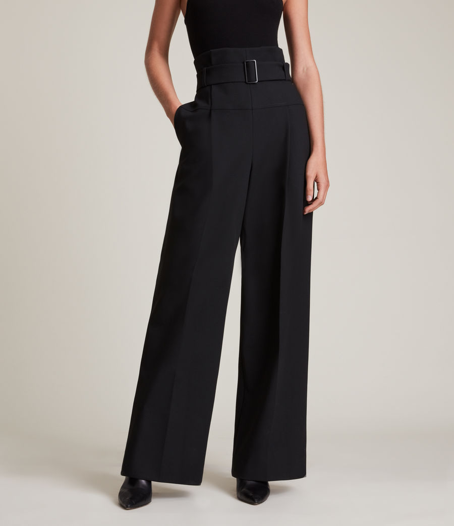 Women's Afia High-Rise Relaxed Trousers (black) - Image 2