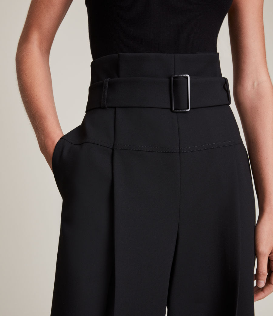 Women's Afia High-Rise Relaxed Trousers (black) - Image 3