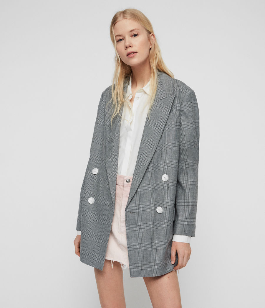 Womens Rowan Check Blazer (light_grey) - Image 1