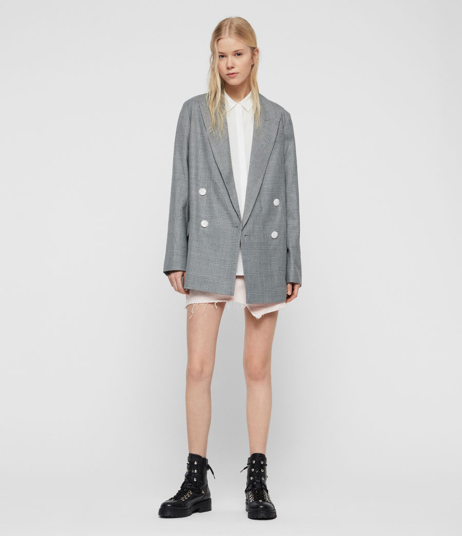 Womens Rowan Check Blazer (light_grey) - Image 2