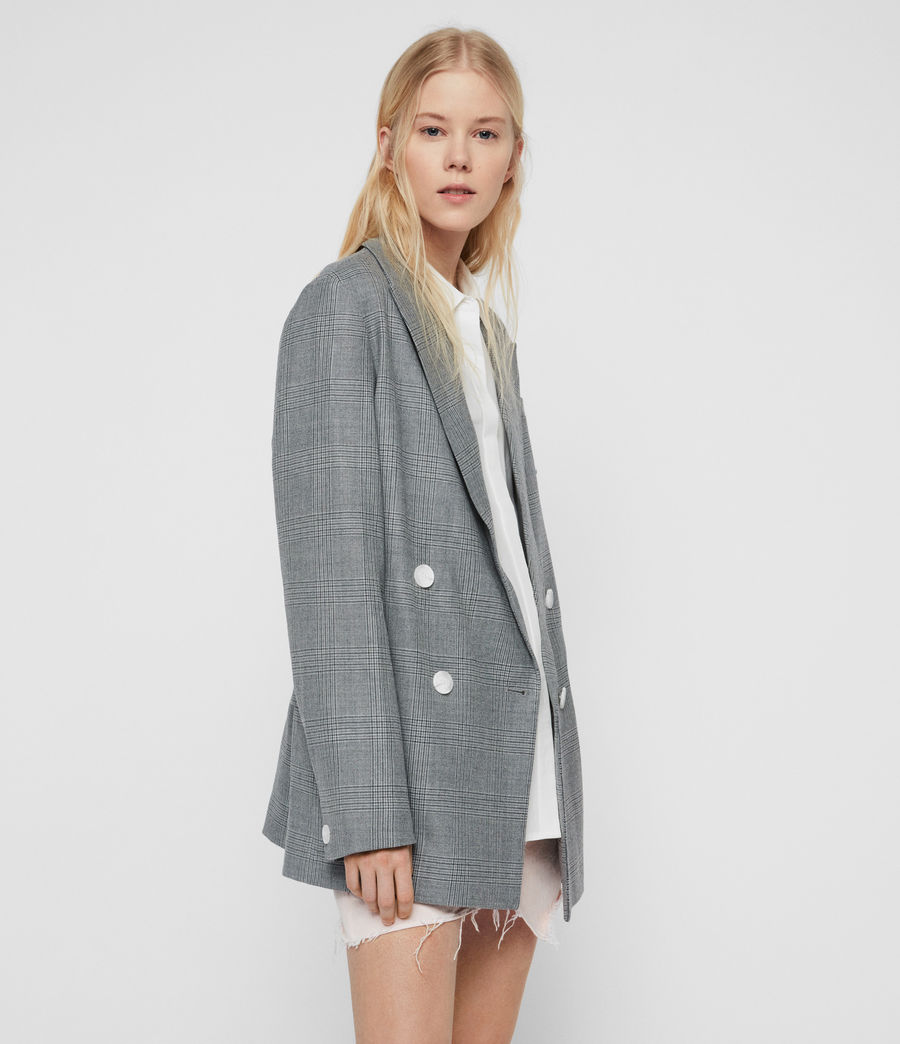 Womens Rowan Check Blazer (light_grey) - Image 4