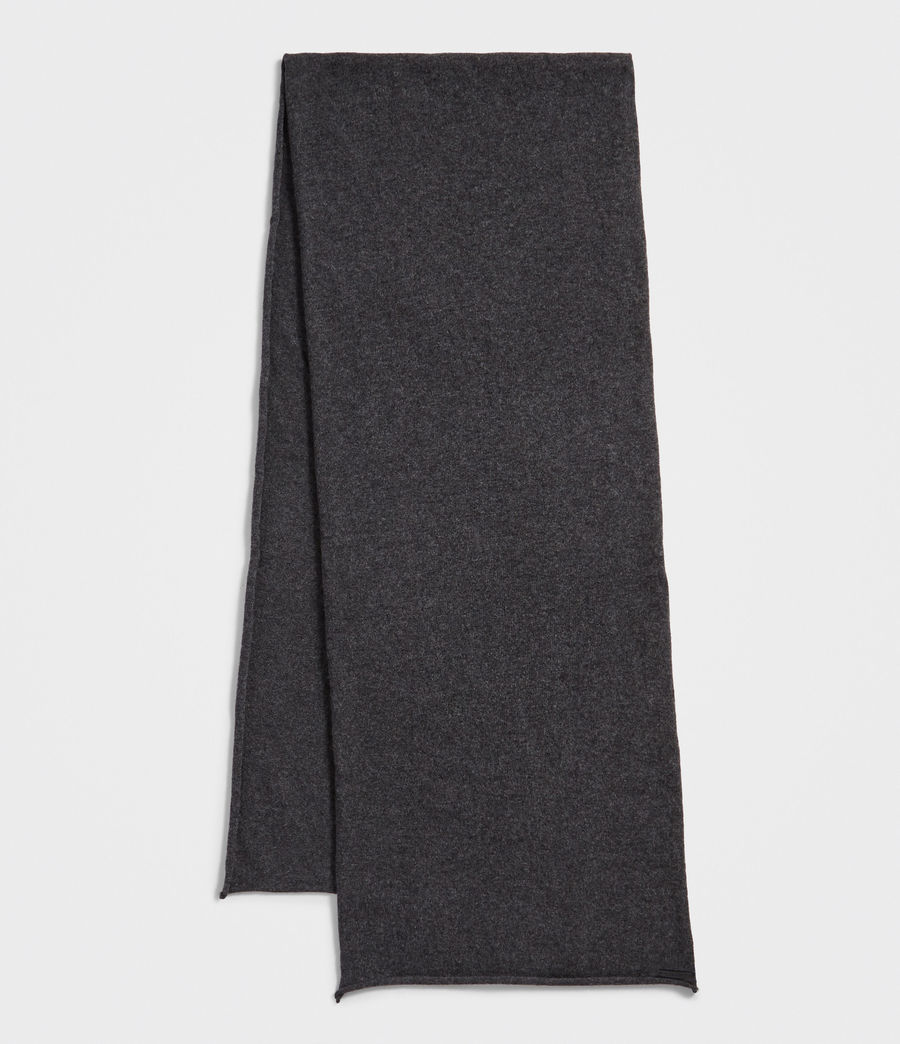 Women's Self Rolled Edge Scarf (cinder_black_marl) - Image 2