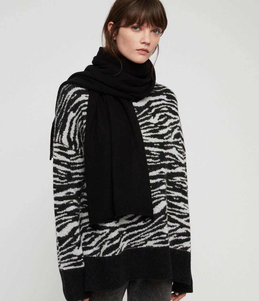 Women's Self Rolled Edge Scarf (black) - Image 1