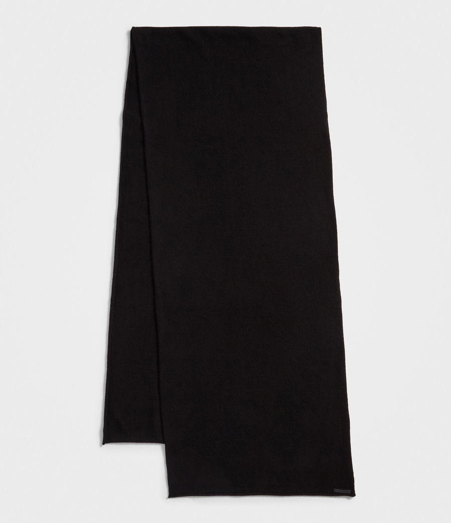 Women's Self Rolled Edge Scarf (black) - Image 2