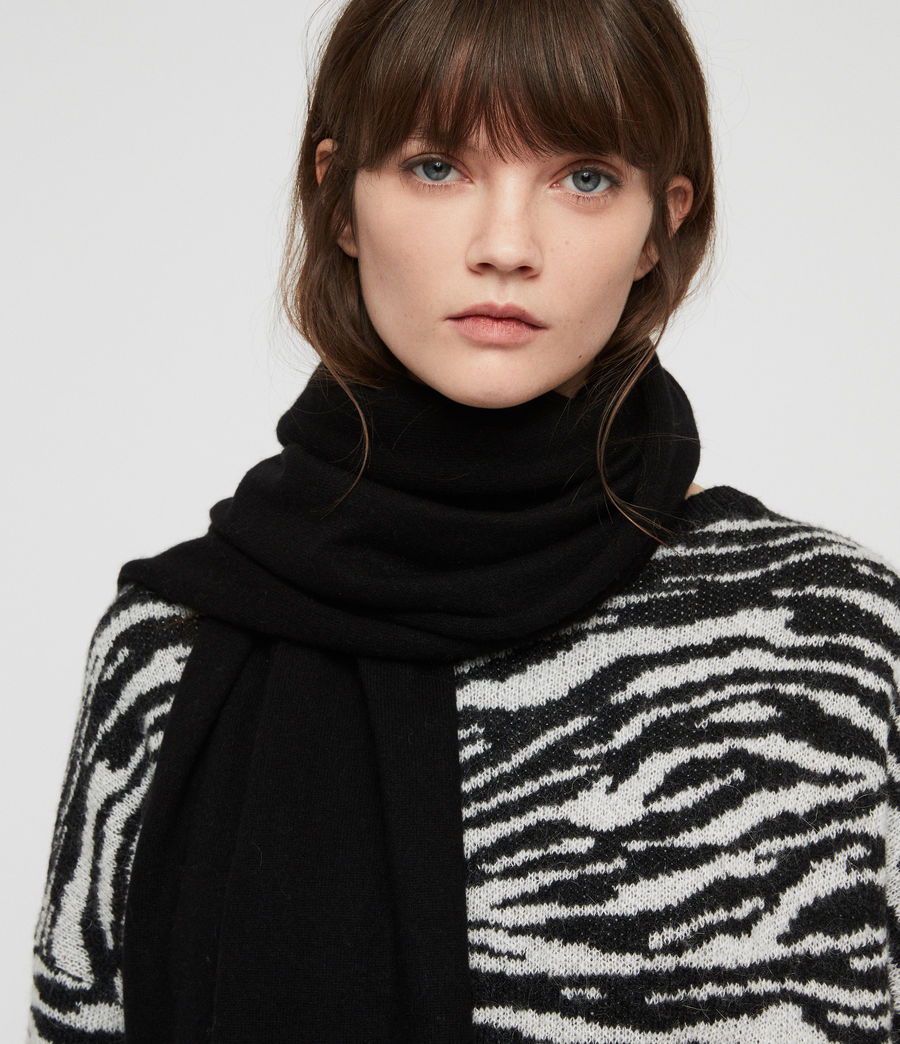 Women's Self Rolled Edge Scarf (black) - Image 3