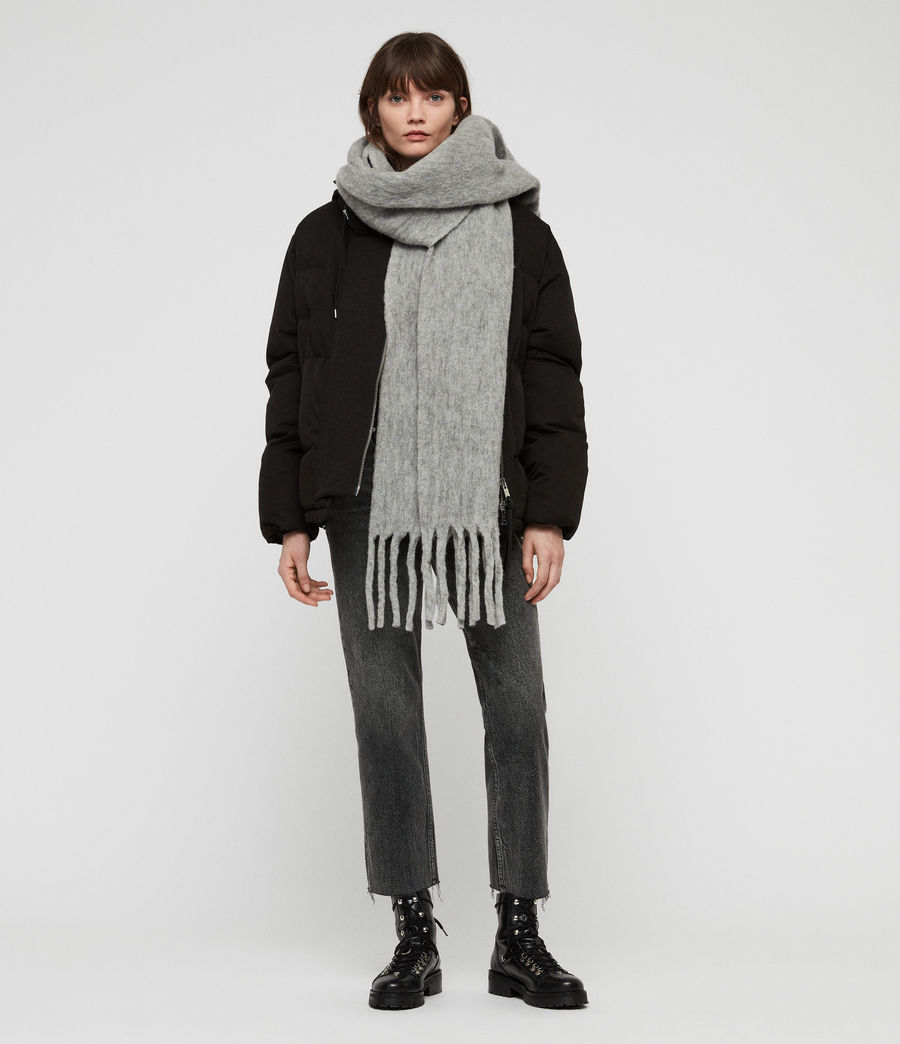 Women's Solid Brushed Blanket Scarf (grey_marl) - Image 1