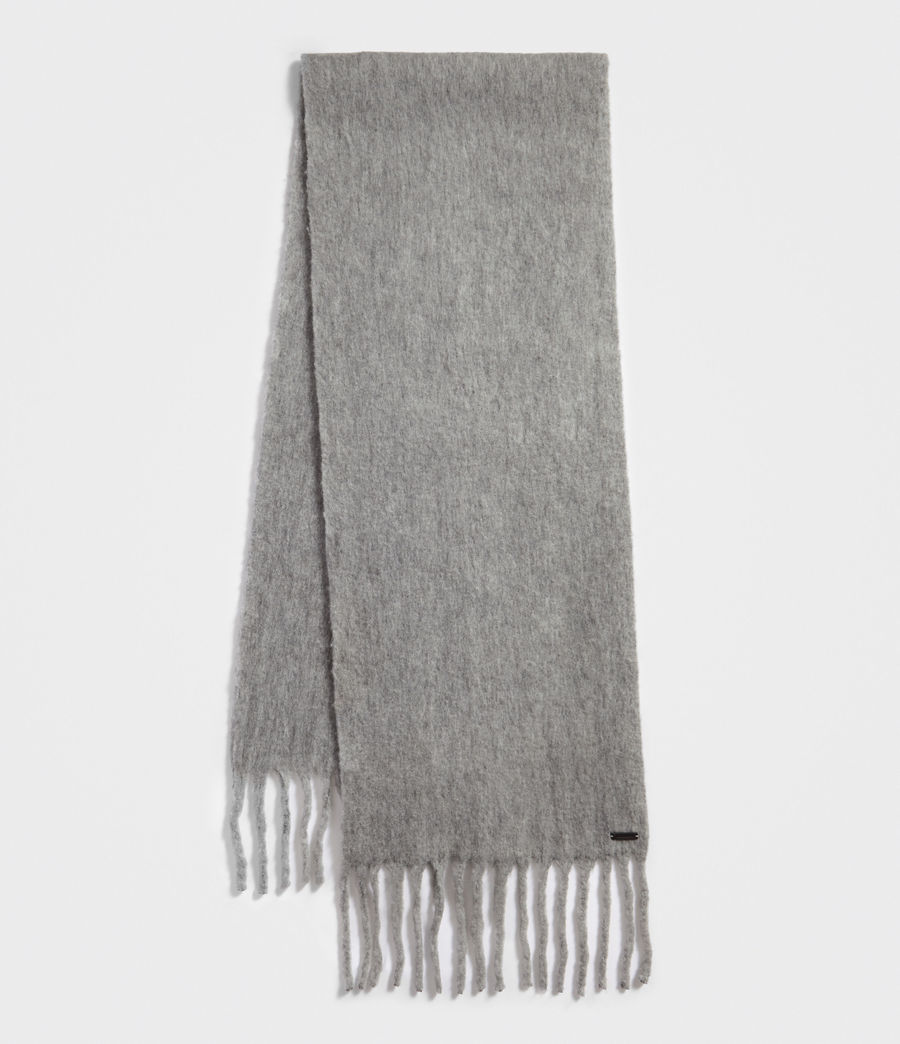 Women's Solid Brushed Blanket Scarf (grey_marl) - Image 2
