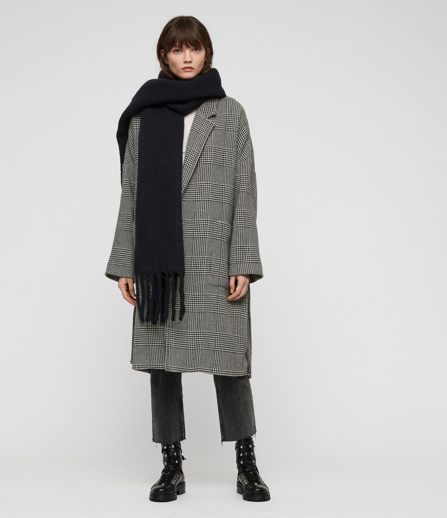 Women's Solid Brushed Blanket Scarf (cinder_black_marl) - Image 1