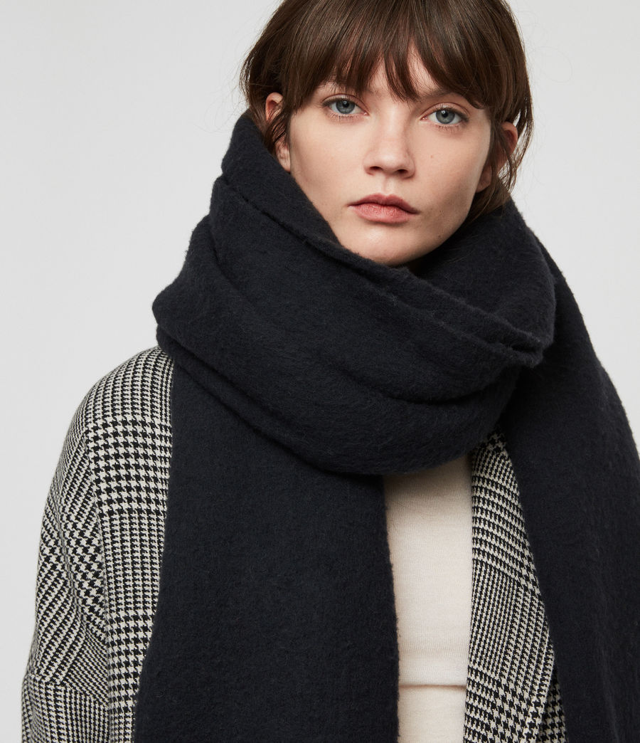 Women's Solid Brushed Blanket Scarf (cinder_black_marl) - Image 3