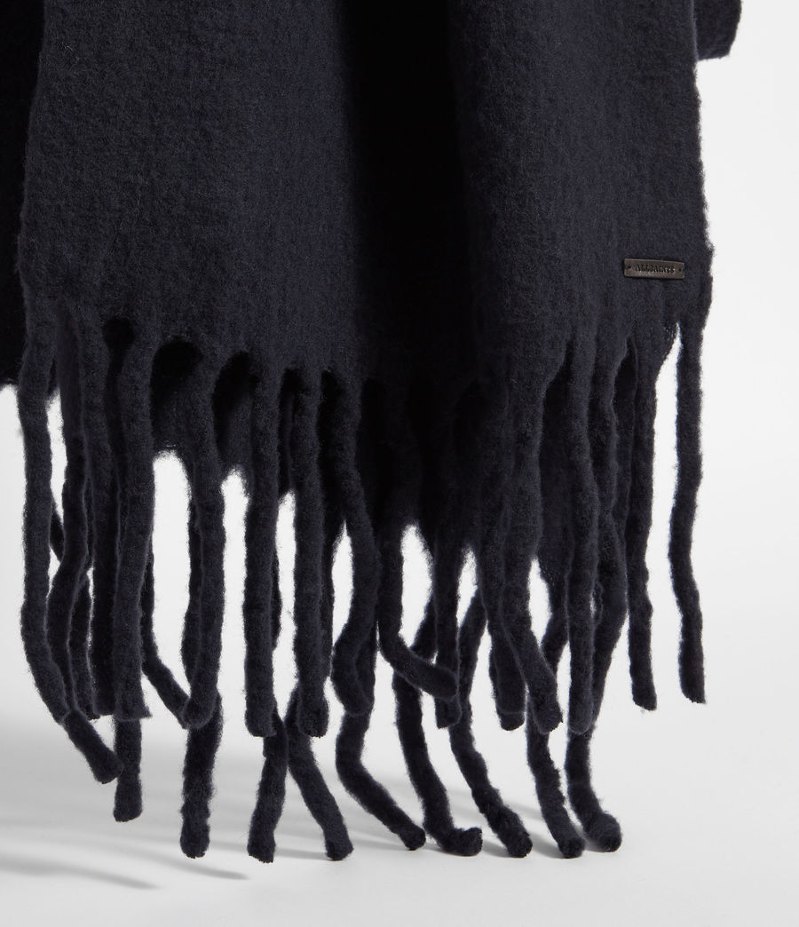 Women's Solid Brushed Blanket Scarf (cinder_black_marl) - Image 4