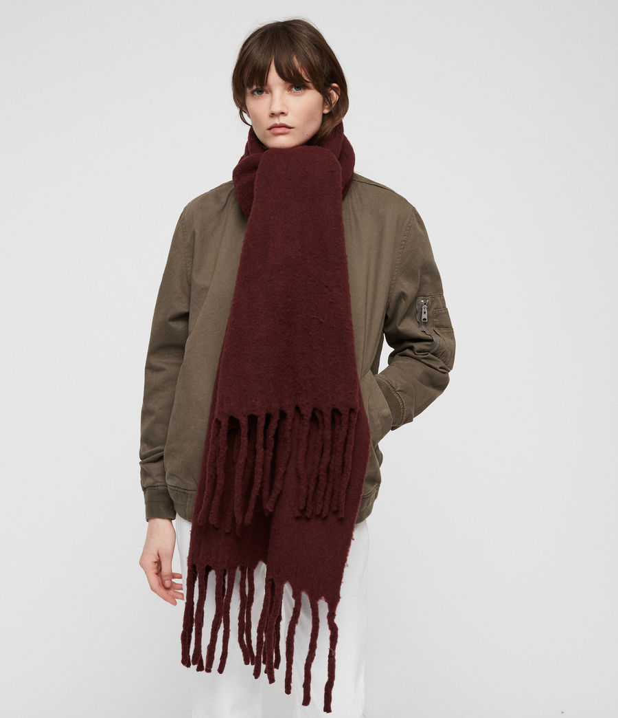 Women's Solid Brushed Blanket Scarf (dark_rust_red) - Image 1
