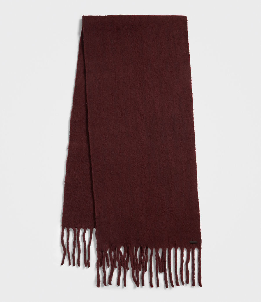 Women's Solid Brushed Blanket Scarf (dark_rust_red) - Image 2