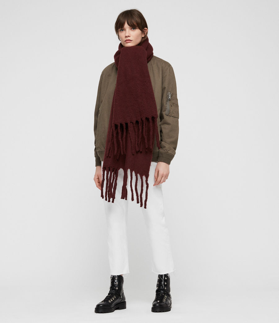 Women's Solid Brushed Blanket Scarf (dark_rust_red) - Image 3