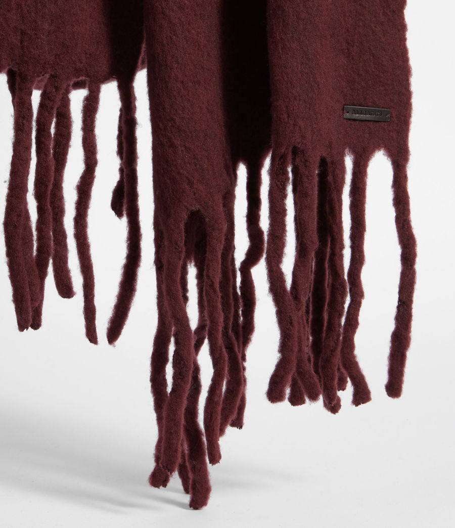Women's Solid Brushed Blanket Scarf (dark_rust_red) - Image 4