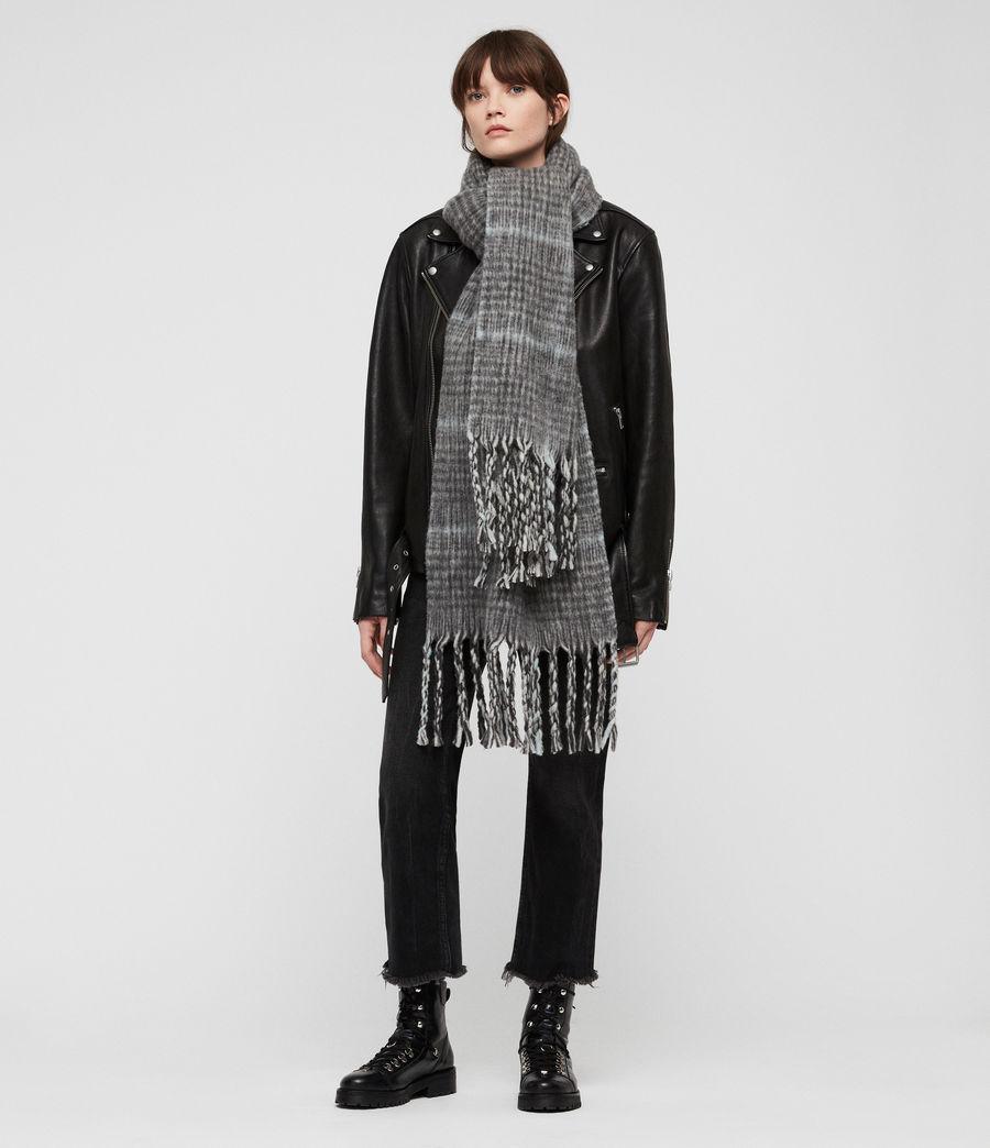 Women's Brushed Wool Plaid Scarf (cinder_black_marl) - Image 1