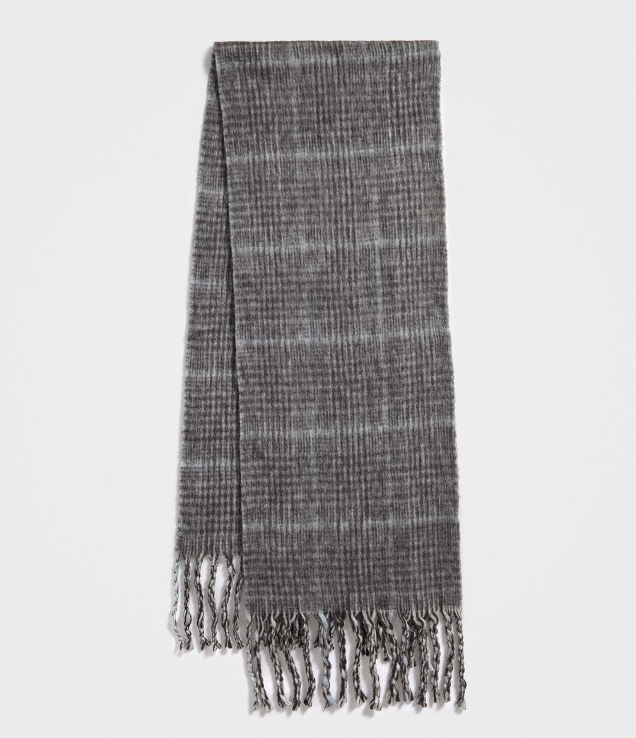 Women's Brushed Wool Plaid Scarf (cinder_black_marl) - Image 2