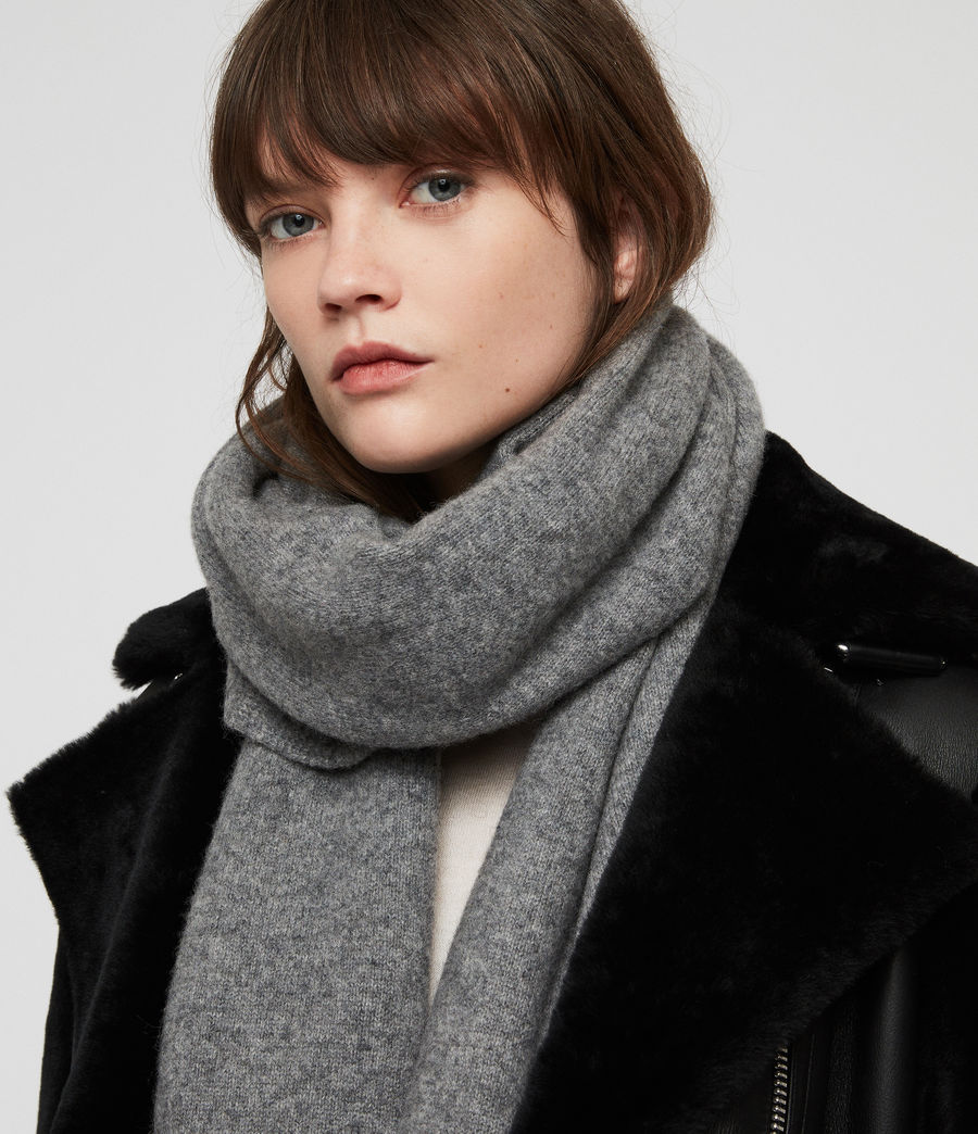 Women's Boiled Wool Scarf (grey_marl) - Image 3