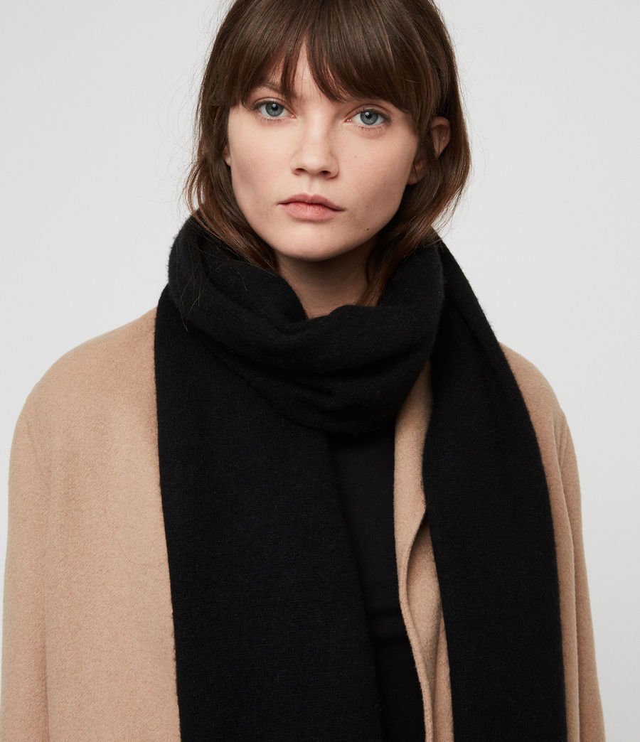 Womens Boiled Wool Scarf (black) - Image 3