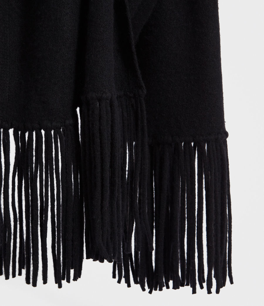 Womens Boiled Wool Scarf (black) - Image 4