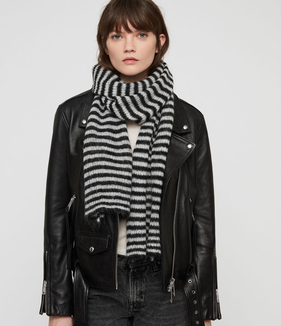 Womens Striped Blanket Scarf (black_porcelain) - Image 1