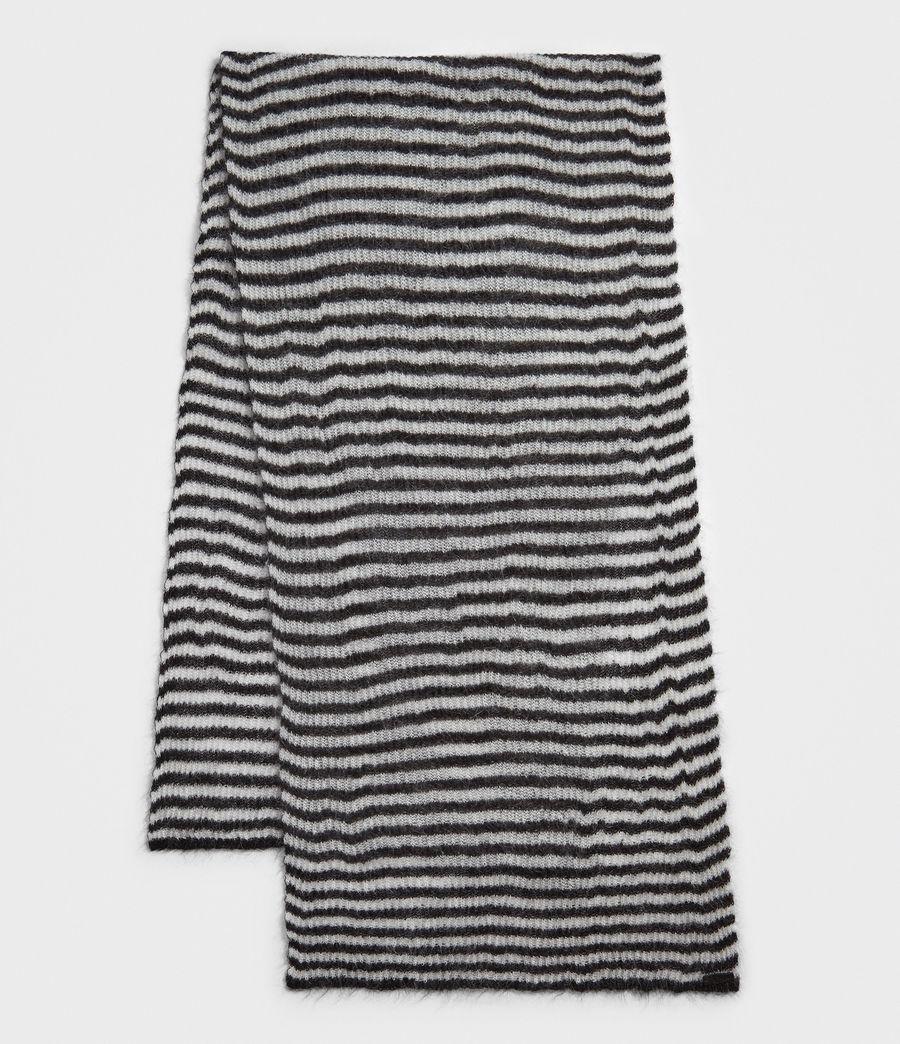 Womens Striped Blanket Scarf (black_porcelain) - Image 2