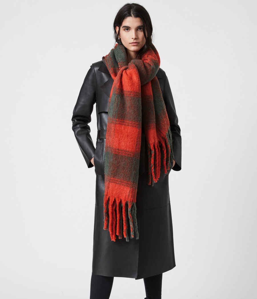 Women's Raven Dye Wool Blend Scarf (riot_red_charcoal) - Image 1